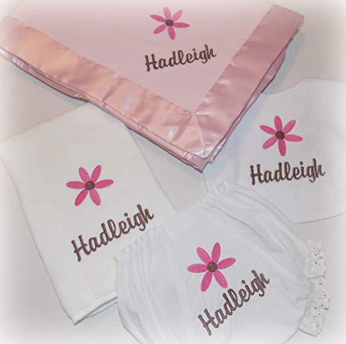 Baby girl Shower gift personalized infant bib burp cloth blanket and diaper cover with ()