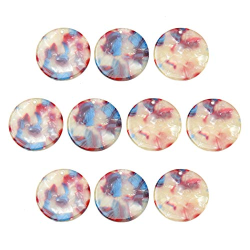 Monrocco 10Pcs Acetate Acrylic Beads Acetate Wafer Circle Earrings Pendants Round Wave Shape Charms for DIY Earrings