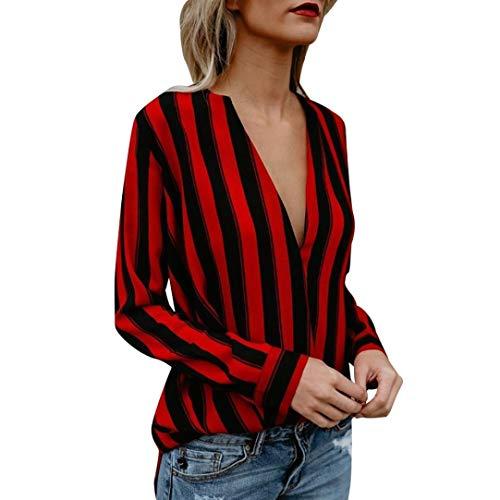 maniche da scollo Magliette V Shirt T Donna Elecenty alto Elegante a a Top Camicie Elegante donna da lunghe collo Rosso a avX6x