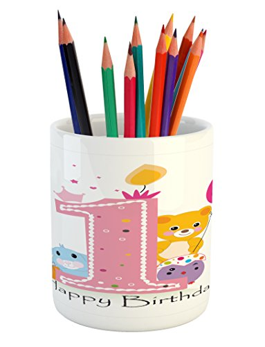 1st Birthday Pencil Pen Holder by Ambesonne, Princess Girl and Party Cake with Candle Teddy Bear Toy Print, Printed Ceramic Pencil Pen Holder for Desk Office Accessory, Pale Pink and Hot (Pink Teddy Bear Candle Holder)