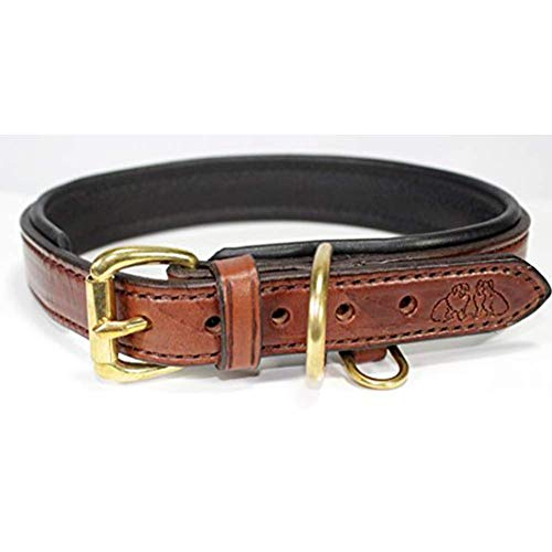 18 Medium Brown/Black Genuine Harness Leather Luxury Dog Collar with Soft Pebble Leather Lining Fits 15-17