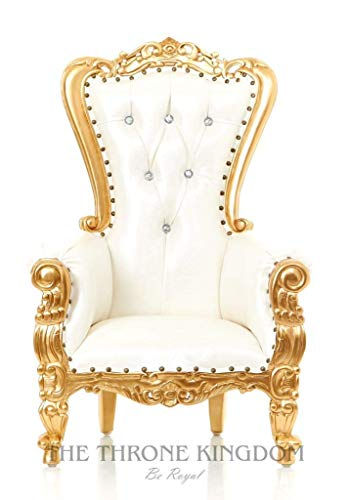 """Mini Tiffany Kids Birthday Throne Chair for Children - Prince/Princess Throne Chair for Kids - Party Chair Rentals, Children Photo Shoots, Home Furniture - Gold Finish - 37"""" H (White/Gold)"""
