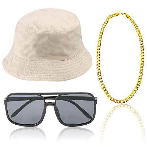 Beelittle 80s/90s Hip Hop Costume Kit Cool Rapper Outfits,Bucket Hat Sunglasses Gold Plated Chain (G)