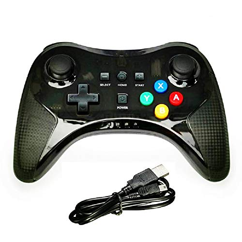 NEW Wii U Pro Controller - Wireless Bluetooth Dual Analog Game Pad Joystick with USB Charging Cable for Nintendo Wii U (Black) ()