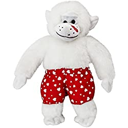 13 Inch Plush Kissing Stuffed Monkey with Heart Boxers White