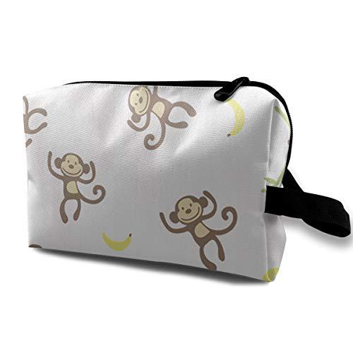 With Wristlet Cosmetic Bags Monkey Eat Bananas Travel Portable Makeup Bag Zipper Wallet -