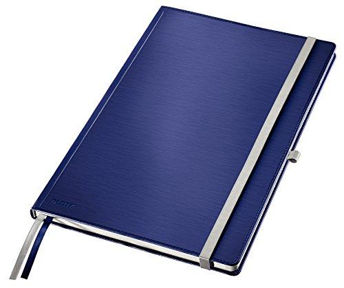 LEITZ 44760069 - Cuaderno con tapas duras STYLE 80 hojas de 96 g/m2 cuadriculado 5, papel FSC, DIN A4 color azul titán