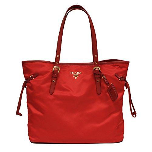 (Prada BR4997 Tessuto Saffian Shopping Tote Bag Large Rosso Red Shoulder Handbag Purse)