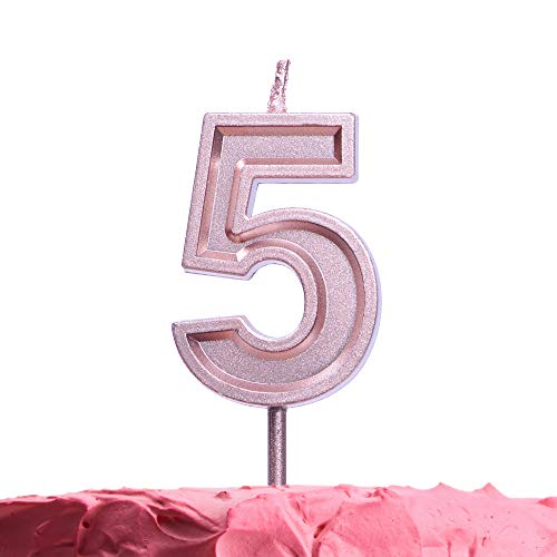 Get Fresh Number 5 Birthday Candle - Rose Gold Number Five Candle on Stick - Elegant Pink Number Candles for Birthday Wedding Anniversary - Perfect Baby's 5th Birthday Cake Candle - Pink 5 Candle]()