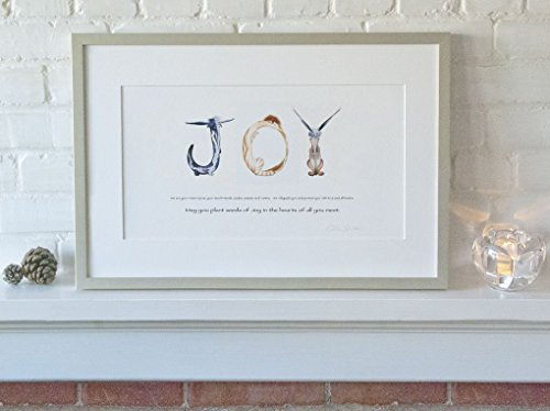 """Joy"" Watercolor Print - Alphabet Letter Fine Art Nursery Wall Art for Newborn Babies, Kids, Wedding Gifts - Museum Quality Typography Print Anam Caras Art with Inspiring & Positive Message"