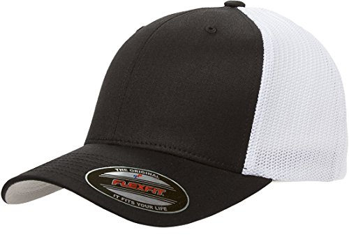 Flexfit Men's Two-Tone Stretch Mesh Cap, Black/White, One Size Fits - Hat Trucker Flexfit