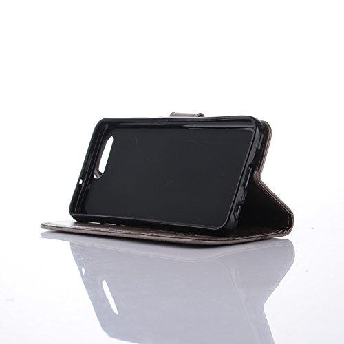 YAJIE-Carcasa Funda Para el caso Huawei P10, caja de cuero en relieve de la cartera del tirón del cuero de la PU del diseño de la flor de la mariposa ( Color : Rose ) Gray