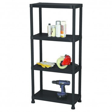 - 4 Tier Shelf Rack Rugged Polypropylene 51 5/8'' high x 23'' Wide x 12'' deep