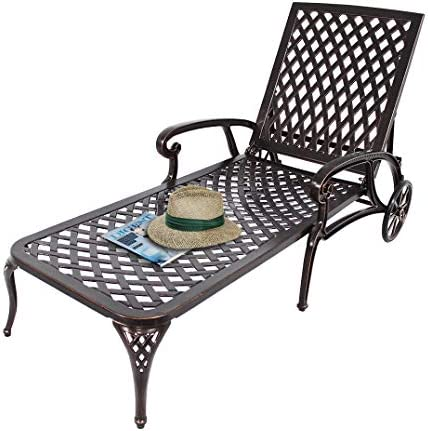 HOMEEFUN Chaise Lounge Outdoor Chair, Aluminum Pool Side Sun Lounges with Wheels Adjustable Reclining, Patio Furniture Set, Pack of 1 Antique Bronze
