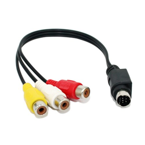 Video Analog Audio - HDE 7-Pin S-Video Mini DIN Male to Triple RCA Female Audio / Video A/V Adapter Cable