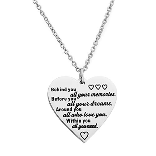 Meibai 2019 Graduation Gift Stainless Steel Charm Bracelet Senior Gifts Inspirational Gift for Girl Class of 2019 (Behind You All Your Memories Before You All Your Dream-Necklace)]()