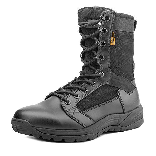 IODSON Men's Ultralight Combat Boots, Breathable Military Boots, Special Force Training Shoes, Shock-Absorbing Tactical Boots (10.5D(M) US, Black)