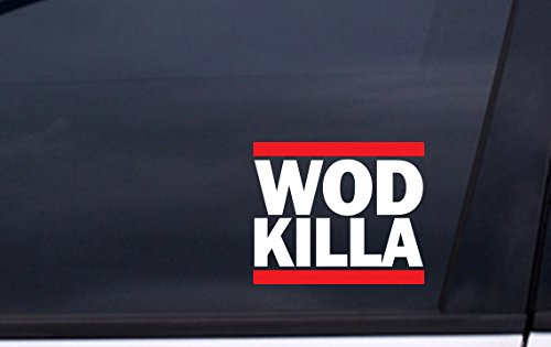WOD-KILLA-decal-4×4-WHITE-and-RED-Free-Shipping-crossfit-fran-murph-sticker