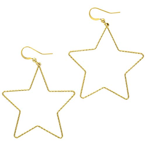 And Lovely 14K Gold Dipped Star Earrings - Hypoallergenic Lightweight Fun Statement Drop Dangle Earrings (Diamond Cut Gold Star Drop)