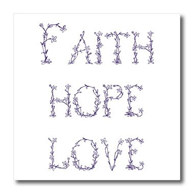 3dRose ht_155886_3 Purple & White Floral Letters Faith, Hope & Love Iron on Heat Transfer Paper for White Material, 10 by 10