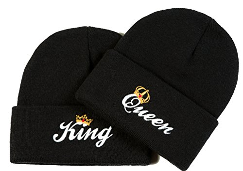 King Queen Matching Couple Beanies - His and Hers Cap Hats Winter Knit Skull Cap