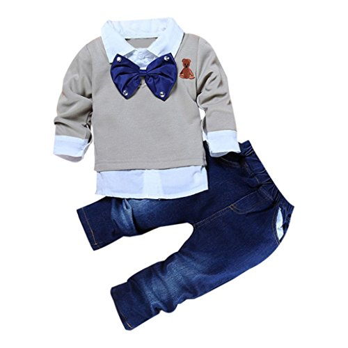 Elevin(TM)Kids Baby Boy Long Sleeve False Two Pieces Shirt Tops+Pants Clothes Outfits (2T) (Sailor Outfits For Men)