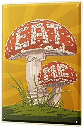 Fred12erica Aluminum Sign, Retro Sign Vintage Tin Sign Metal Wall Plaque PosterFood Restaurant Mushrooms Eat Me 8