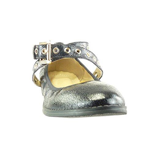 Nero Tanga Tacco Scarpe Angkorly Perforato D'Oro cm Vintage a Stile Blocco Ballerina Moda 1 Donna x6zYS