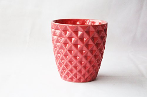 Better-way Diamond Round Ceramic Orchid Flower Container Succulent Planter Plant Pot Windowsill contemporary Home Decoration (6 inch, Red)