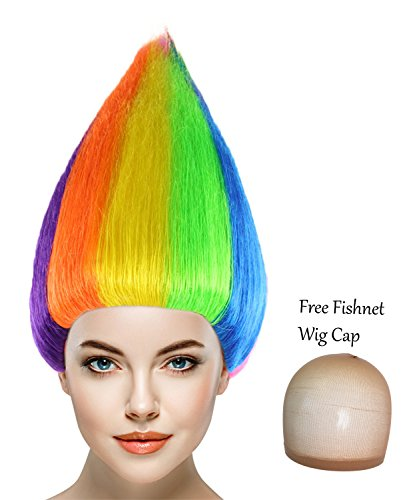 Cece Trolls Synthetic Hair Wigs w/ Wig Cap Cosplay Costume Party Halloween Colorful Rainbow Hairpiece for Men, Women (Colorful Hair Costumes)