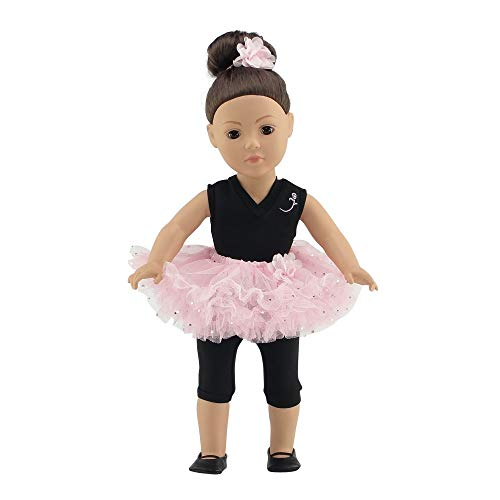 Fits 18 American Girl Dolls | Ballerina Outfit with Black Unitard, Pink Tutu, Hair Piece and Dance Shoes | 18-Inch Doll Ballet Clothes | Gift-Boxed!