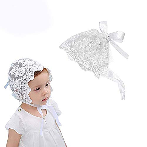 2e46aa48bb9 Unetox Baby Bonnet Lace Floral Sun Hat with Ribbon Tie Photo Prop Beanie Cap  for 0