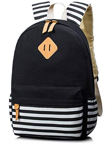 Leaper Unisex School Rucksack Stripe Travel Backpack 15.6 Inch Laptop Black
