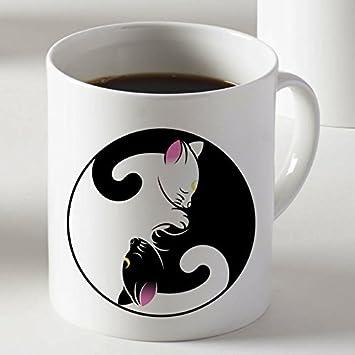 Gato blanco y negro gatos luna Sailor Moon taza dos lados 11 Oz cerámica: Amazon.es: Hogar