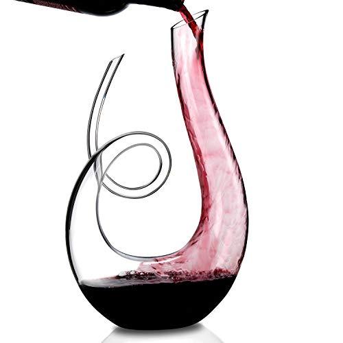 Wine Enthusiast Lead-Free Crystal Art Series Treble Wine Decanter]()