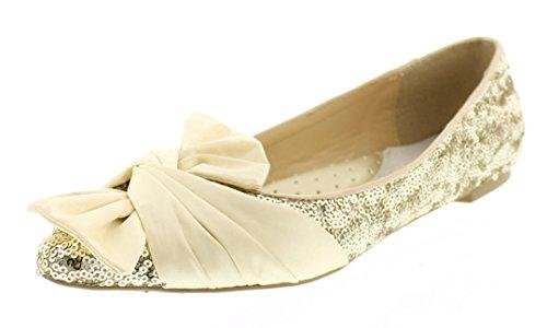 Gold Satin Pump (Gold Toe Women's vivie Metallic Sparkle Sequin Satin Bow Ballet Flat Heel Pump Slip On Loafers Dress Shoe Gold 9 US)