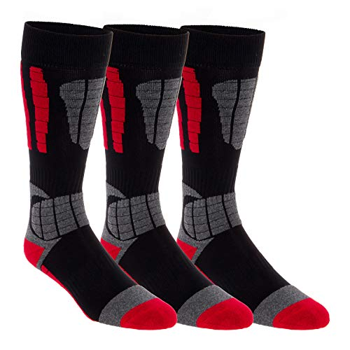(3 Pack LISH Men's Ski Socks - Over the Calf Thermal Snow Socks for Snowboarding and Skiing (Red, M/L))