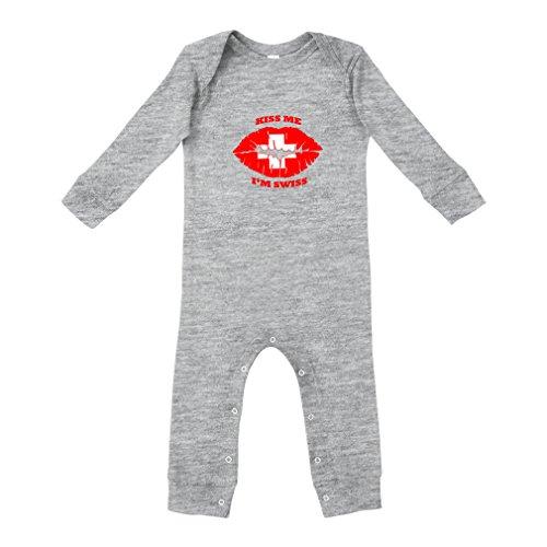 Kiss Me I'm Swiss Swiss Flag Cotton Long Sleeve Envelope Neck Unisex Baby Legged Long Rib Coverall Bodysuit - Oxford Gray, 12 Months (Kisses Ring Swiss)