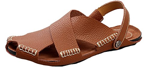 HW-GOODS Mens Fashion New Fisherman Sandal Leather Flat Slipper Brown j2pnrmmh
