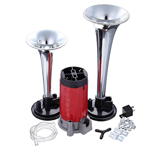 Price comparison product image Ambienceo 12V 135DB Super Loud Air Horn Kit with Dual Trumpet Compressor Relay Tube Junction for Motorcycle Train Car Truck Boat Van Tractor