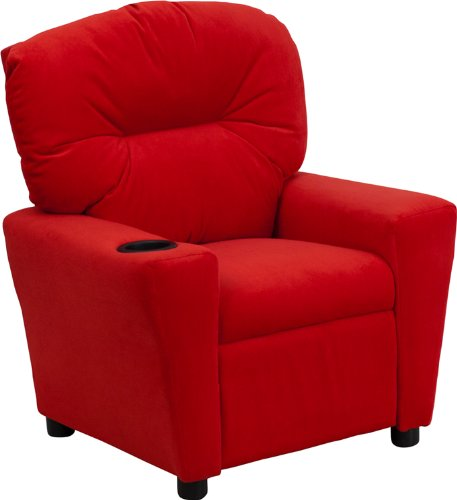 Offex OF-BT-7950-KID-MIC-RED-GG Contemporary Microfiber Kids Recliner with Cup Holder, Red