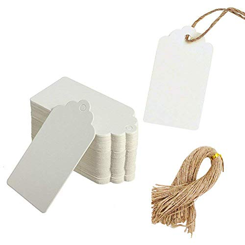 Paper Tags Gift Hang Tags with String 200pcs White ()