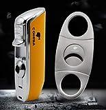 Jet Flame Yellow Chrome Steel Cigar Cigarette Lighter (Lighter+cutter)