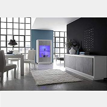 M 012 Salle A Manger Design Blanc Laque Mat Et Couleur Beton