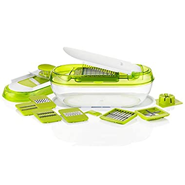 Sunkist All in 1 Chopper and Mandoline Slicer with Container and Storage Lid, Includes 8 Interchangeable Blades, 5.51 by 11.22 by 5.04 , Green