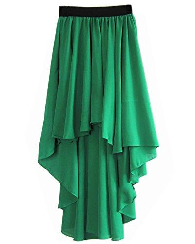 JOLIME Femme Jupe Asymtrique Plisse En Queue Midi Bohme Uni Robe de Plage vas Sexy Chic Vert