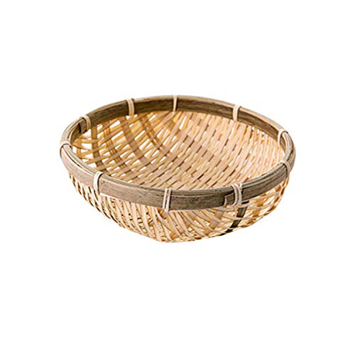 Handmade Bamboo Weaving Round Storage Basket Fruit Dish Rattan Bread Basket for Kitchen Food Picnic Bread Sundry Mini Container,15Cm