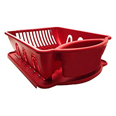 Red Sterilite Two Piece Sink Set Dish Rack Drainer Kitchen Perimeter Cup Holder