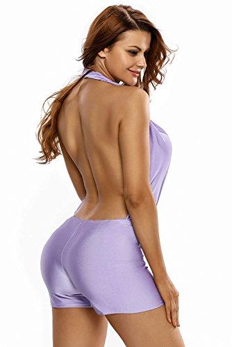 Neue Damen Lila Neckholder Rückenfrei Strampler Spielanzug Body Strampelanzug Club Wear Sommer Kleidung Größe M UK 10�?2EU 38�?0