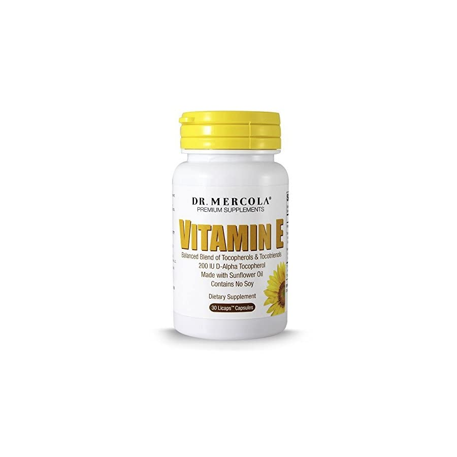Dr. Mercola Vitamin E 30 Capsules Balanced Blend Of Tocopherols And Tocotrienols Made With Sunflower Oil Contains No Soy 200 IU D Alpha Tocopherol